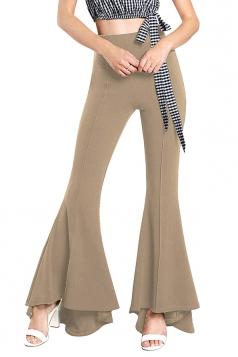 Womens Close-Fitting High Waisted Wide Leg Ruffle Bell Pants Apricot