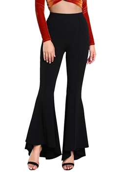 Womens Close-Fitting High Waisted Wide Leg Ruffle Bell Pants Black
