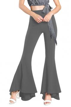 Womens Close-Fitting High Waisted Wide Leg Ruffle Bell Pants Gray