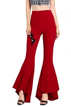 Womens Close-Fitting High Waisted Wide Leg Ruffle Bell Pants Red
