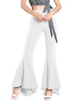 Womens Elegant High Waist Bell Bottoms Plain Leisure Pants White