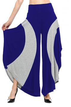 Womens Loose Contrast Color High Waisted Wide Leg Bell Pants Blue