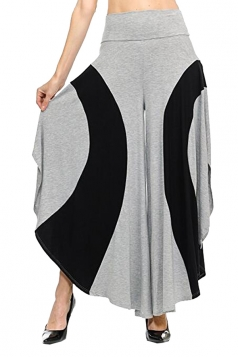 Womens Loose Contrast Color High Waisted Wide Leg Bell Pants Gray