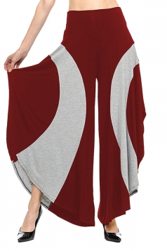 Womens Loose Contrast Color High Waisted Wide Leg Bell Pants Ruby