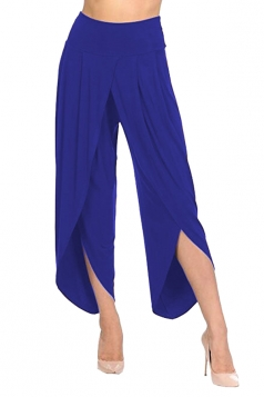 Womens Stylish Ruffle Split High Waisted Asymmetric Hem Pants Blue