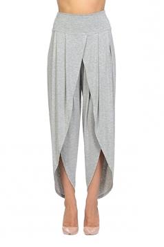 Womens Stylish Ruffle High Waisted Asymmetric Hem Pants Light Gray