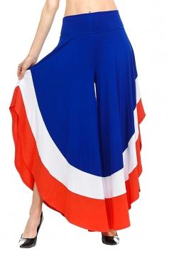 Womens Stylish Color Block High Waisted Wide Leg Leisure Pants Blue