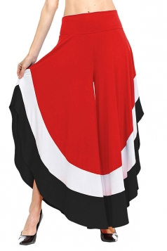 Womens Stylish Color Block High Waisted Wide Leg Leisure Pants Red