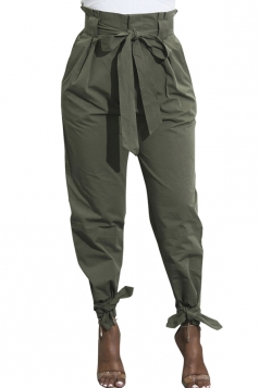 Womens Trendy Belted Ankle Tie High Waist Pants Army Green