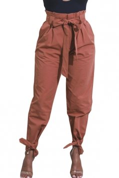Womens Trendy Belted Ankle Tie High Waist Pants Brown
