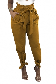 Womens Trendy Belted Ankle Tie High Waist Pants Yellow