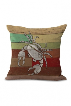 Crab Printed Decorative Throw Pillow Case Brown 18x18in