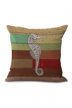 Seahorse Printed Decorative Throw Pillow Case Green 18x18in