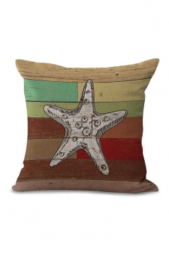 Starfish Printed Decorative Throw Pillow Case Red 18x18in