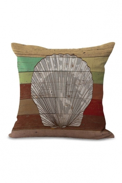 Shell Printed Decorative Throw Pillow Case White 18x18in