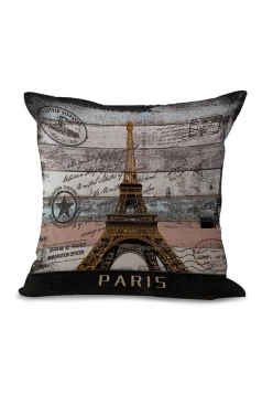 Eiffel Tower Printed Decorative Throw Pillow Case Gold 18x18in