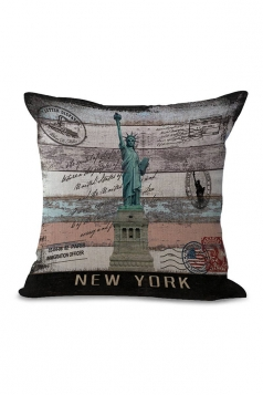 Statue Of Liberty Printed Throw Pillow Case Green 18x18in