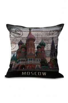 Red Square Printed Decorative Throw Pillow Case Multicolour 18x18in