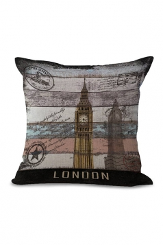Big Ben Printed Decorative Throw Pillow Case Gray 18x18in