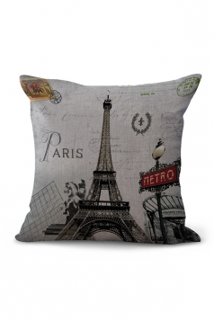 Cartoon Eiffel Tower Printed Throw Pillow Case Gray 18x18in