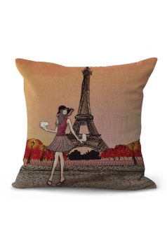 Cartoon Eiffel Tower Printed Throw Pillow Case Multicolor 18x18in