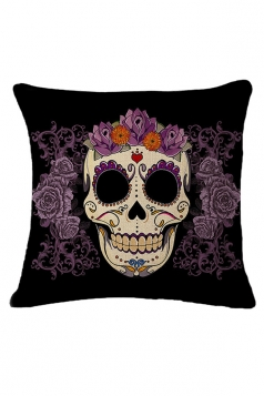Sugar Skull Printed Decorative Throw Pillow Case Black 18x18in