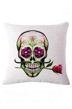 Sugar Skull Printed Decorative Throw Pillow Case Rose Red 18x18in