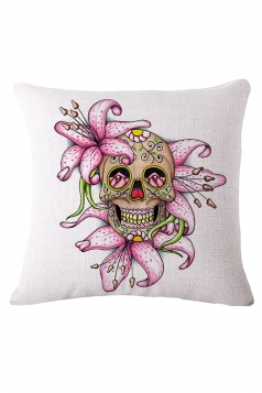 Sugar Skull Printed Decorative Throw Pillow Case Pink 18x18in