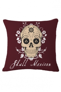Sugar Skull Printed Decorative Throw Pillow Case Ruby 18x18in
