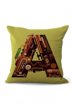 The Alphabet Printed Decorative Throw Pillow Case Brown 18x18in