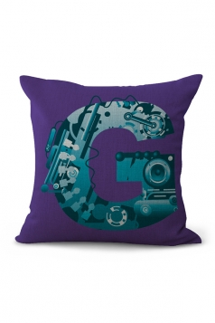 The Alphabet Printed Decorative Throw Pillow Case Dark Purple 18x18in