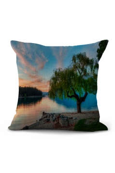 Landscape Printed Throw Pillow Case Cover Blue 18x18in