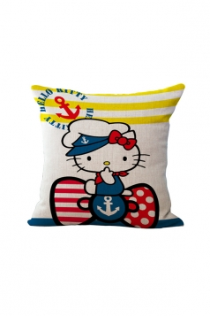 Cute Hello Kitty Printed Throw Pillow Case Covers Blue 18x18in