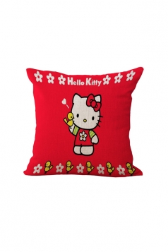 Cute Hello Kitty Printed Throw Pillow Case Covers Red 18x18in