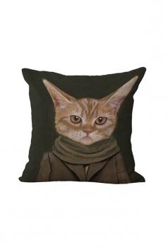 Fashion Cat Printed Throw Pillow Case Cover Army Green 18x18in