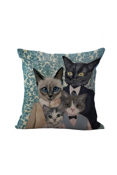 Fashion Cat Printed Throw Pillow Case Cover Black And White 18x18in