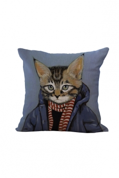 Fashion Cat Printed Throw Pillow Case Cover Blue 18x18in