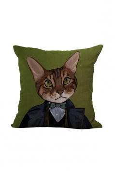 Fashion Cat Printed Throw Pillow Case Cover Brown 18x18in