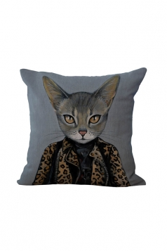 Fashion Cat Printed Throw Pillow Case Cover Dark Gray 18x18in