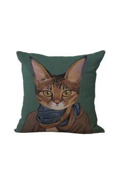 Fashion Cat Printed Throw Pillow Case Cover Dark Green 18x18in