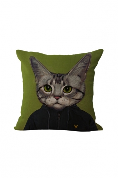 Fashion Cat Printed Throw Pillow Case Cover Green 18x18in