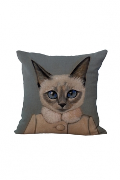 Fashion Cat Printed Throw Pillow Case Cover Gray 18x18in