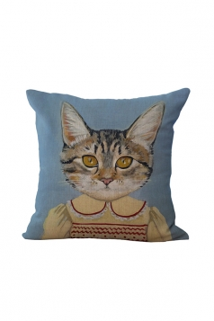 Fashion Cat Printed Throw Pillow Case Cover Light Blue 18x18in