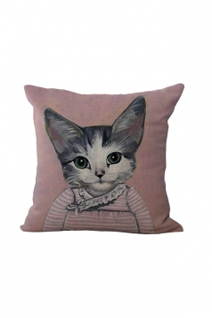 Fashion Cat Printed Throw Pillow Case Cover Pink 18x18in