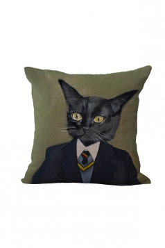 Fashion Cat Printed Throw Pillow Case Cover Sapphire Blue 18x18in