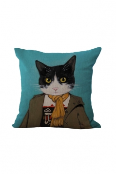 Fashion Cat Printed Throw Pillow Case Cover Turquoise 18x18in