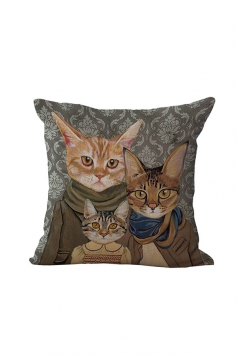 Fashion Cat Printed Throw Pillow Case Cover Yellow 18x18in