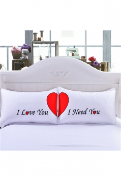Sweet Heart Printed Couple Long Distance Pillow Cover White 35x20in
