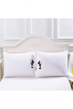 Sweet Cartoon Mickey Couple Long Distance Pillow Cover White 30x20in