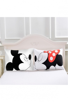 Sweet Mickey Minne Couple Long Distance Pillow Cover White 30x20in